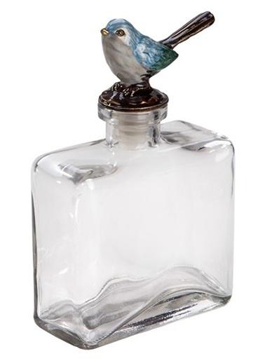 Kuş Figürlü Dekoratif Cam Şişe-Warm Design